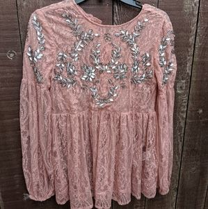 BNWT Forever 21 lace and bead boho top